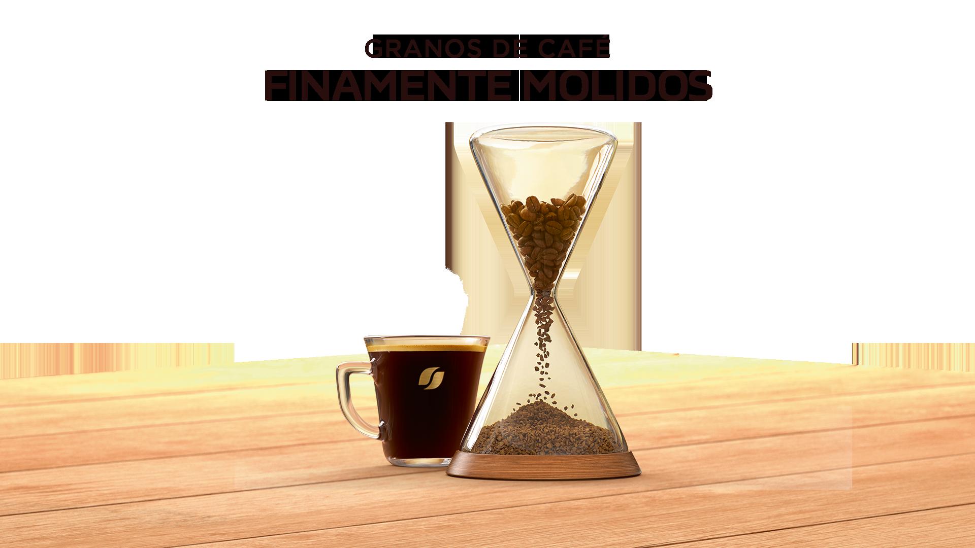 Reloj de arena con café