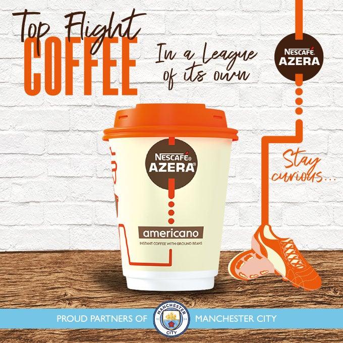 A graphic announcing Nescafé Azera as Man City coffee partner