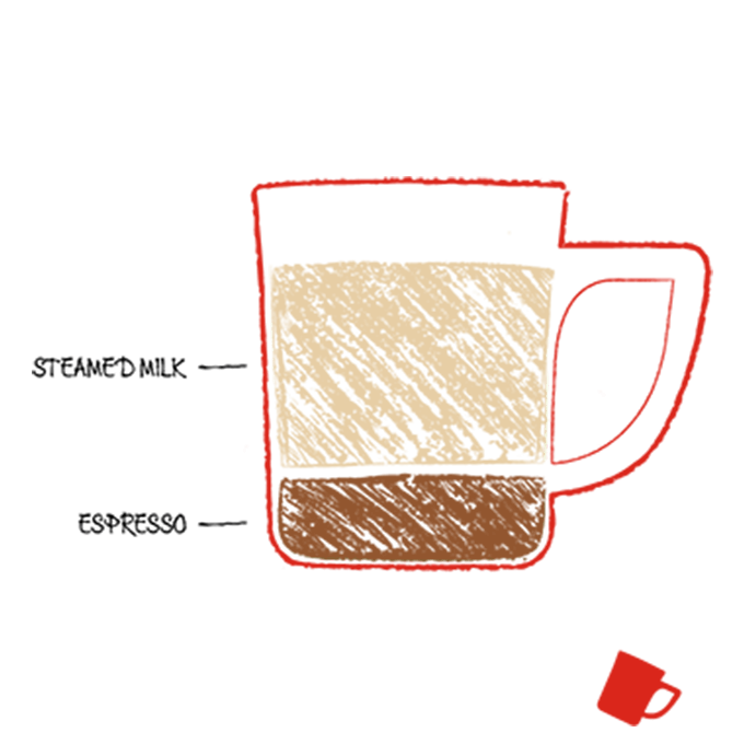 Drawing of cortado coffee ingredients in a cup