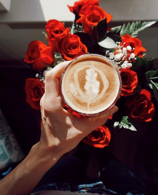Coffee and some flowers