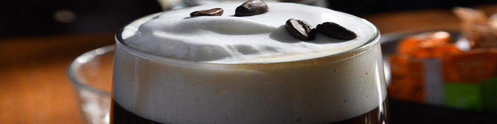 An Irish coffee in a glass