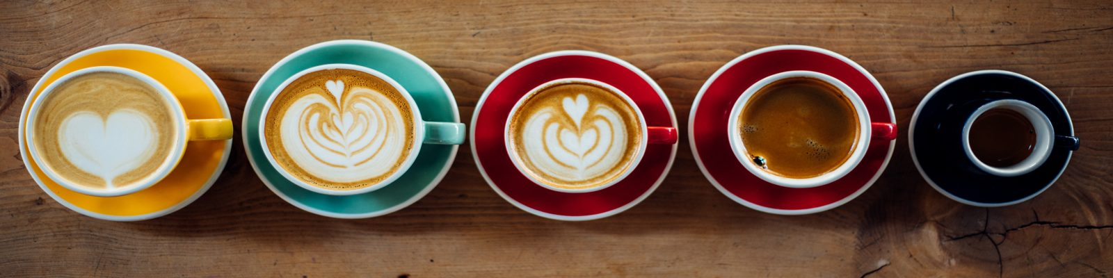 Different coffees in a row