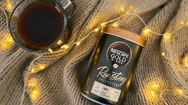 Nescafé Gold Blend Roastery tin and coffee