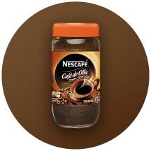 A container of NESCAFÉ flavored coffee in a brown circle.