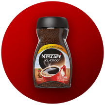 A container of NESCAFÉ CLÁSICO in a red circle.