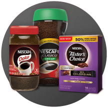 Three containers of NESCAFÉ in a gray circle.