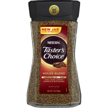 A jar of Taster's Choice House Blend instant coffee with a black lid and coffee beans near the Taster's Choice logo.