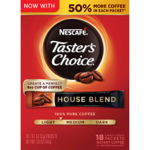 A red box of Taster's Choice House Blend instant packets with coffee beans near the Taster's Choice logo.